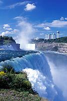 Niagara Falls, NY, waterfalls, New York, American Falls with Canadian Falls (Horseshoe Falls) in the background at Niagara Falls.