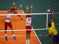 BARRANQUILLA - COLOMBIA, 02-08-2018: Puerto Rico y Colombia en partido categoría voleibol masculino por la medalla de oro y plata como parte de los Juegos Centroamericanos y del Caribe Barranquilla 2018. /  Puerto Rico and Colombia in match of men's volleyball category for the gold and silver medal as part of the Central American and Caribbean Sports Games Barranquilla 2018. Photo: VizzorImage /  Cont