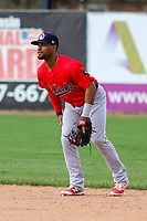 Peoria Chiefs second baseman J.R. Davis (30) during a Midwest League game against the Beloit Snappers on April 15, 2017 at Pohlman Field in Beloit, Wisconsin.  Beloit defeated Peoria 12-0. (Brad Krause/Four Seam Images)