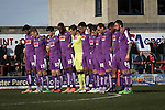 The visiting players observing a minute's silence in memory of this week's Brussels terrorist attacks before kick-off at the Globe Arena as Morecambe hosted Plymouth Argyle in a League 2 fixture. The stadium was opened in 2010 and replaced Morecambe's traditional home of Christie Park which had been their home since 1921, the year after their foundation. Plymouth won this fixture by 2-0 watched by 2,081 spectators, in a game delayed by 30 minutes due to traffic congestion affecting travelling Argyle fans.