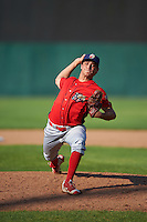 Williamsport Crosscutters relief pitcher Julian Garcia (16) delivers a pitch during a game against the Auburn Doubledays on June 26, 2016 at Falcon Park in Auburn, New York.  Auburn defeated Williamsport 3-1.  (Mike Janes/Four Seam Images)