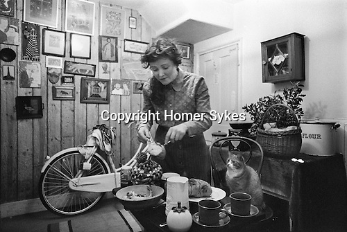 Mabel Pakenham-Walsh 1975. Artist wood carver and painter at home in SE England. Some of her work is on the walls.