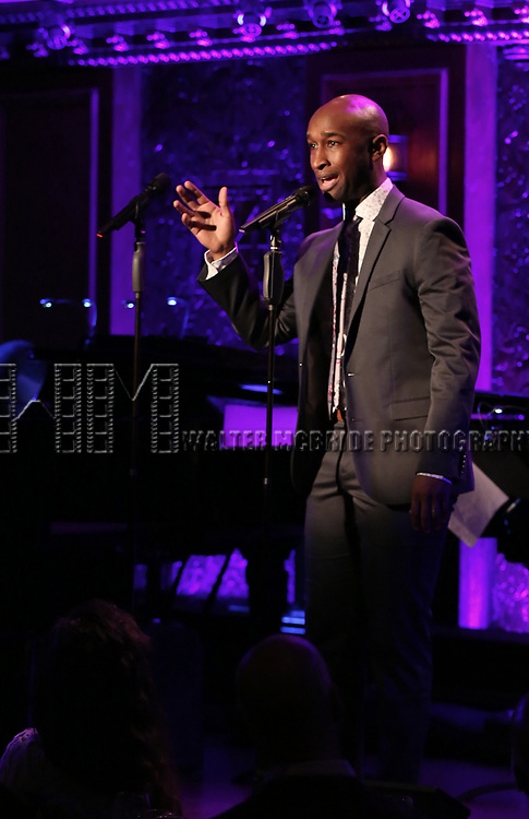 """Donald Webber Jr. on stage during a Song preview performance of the BeBe Winans Broadway Bound Musical """"Born For This"""" at Feinstein's 54 Below on November 5, 2018 in New York City."""