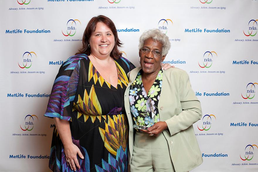 Silver honoree Clarie Miller with Julie Bonamarte, left, at the Older Volunteers Enrich America Awards at the Double Tree Hotel in Washington, DC on Friday, June 17, 2011.