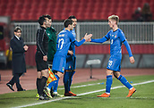 27th March 2018, Karadjorde Stadium, Novi Sad, Serbia; Under 21 International Football Friendly, Serbia U21 versus Italy U21; Forward Simone Palombi of Italy is substituted for Luca Vido of Italy
