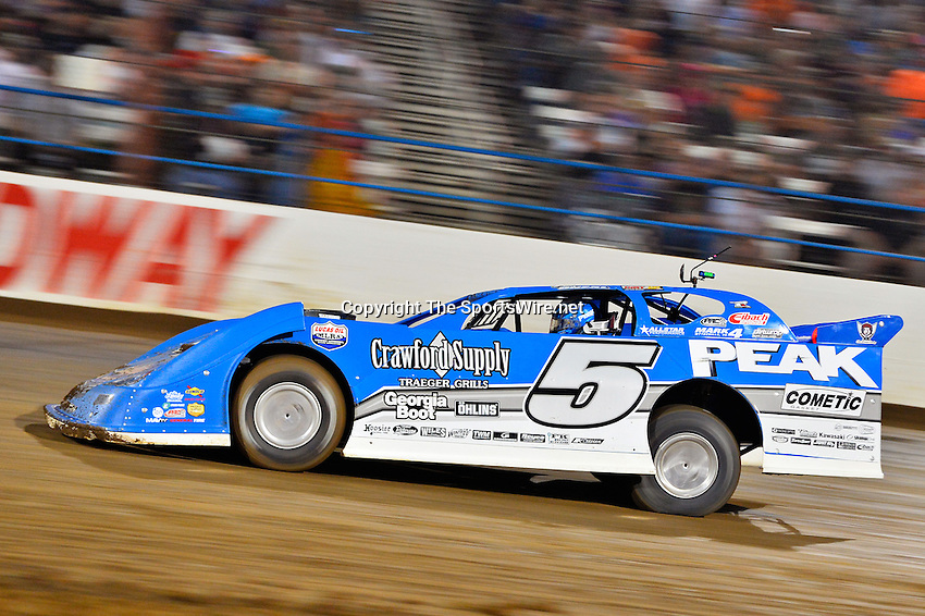 May 24, 2014; 8:58:29 PM; Wheatland, Mo., USA; The  Lucas Oil Late Model Dirt Series running the 22nd Annual Lucas Oil Show-Me 100 Presented by ProtectTheHarvest.com.  Mandatory Credit: (thesportswire.net)
