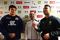 The Wales U20's and Italy U20\s Captains perform the coin toss <br /> <br /> Photographer Richard Martin-Roberts/CameraSport<br /> <br /> Six Nations U20 Championship Round 4 - Wales U20s v Italy U20s - Friday 9th March 2018 - Parc Eirias, Colwyn Bay, North Wales<br /> <br /> World Copyright &not;&copy; 2018 CameraSport. All rights reserved. 43 Linden Ave. Countesthorpe. Leicester. England. LE8 5PG - Tel: +44 (0) 116 277 4147 - admin@camerasport.com - www.camerasport.com