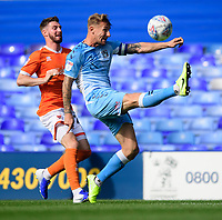 Coventry City's Kyle McFadzean under pressure from Blackpool's James Husband<br /> <br /> Photographer Chris Vaughan/CameraSport<br /> <br /> The EFL Sky Bet League One - Coventry City v Blackpool - Saturday 7th September 2019 - St Andrew's - Birmingham<br /> <br /> World Copyright © 2019 CameraSport. All rights reserved. 43 Linden Ave. Countesthorpe. Leicester. England. LE8 5PG - Tel: +44 (0) 116 277 4147 - admin@camerasport.com - www.camerasport.com