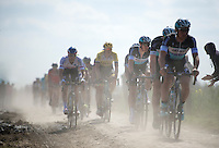 2014 winner Niki Terpstra (NLD/Etixx-QuickStep) following his teammates who are chasing the race leaders 2 minutes ahead in sector 14: Tilloy &agrave; Sars-et-Rosi&egrave;res (2.4km)<br /> <br /> 113th Paris-Roubaix 2015