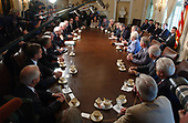 United States President George W. Bush meets with bipartisan members of the US House of Representatives to discuss medicare reform in the Cabinet Room at the White House in Washington, DC on June 25, 2003.<br /> Credit: Ron Sachs - Pool via CNP