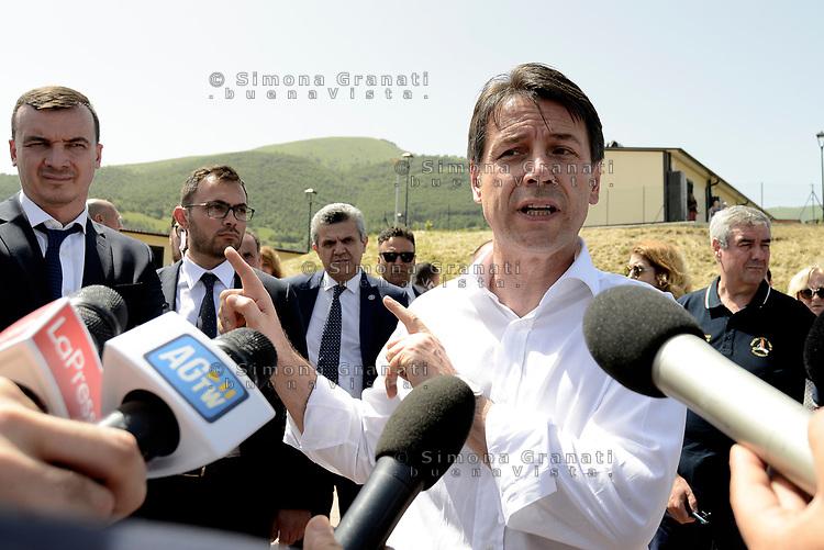 Accumoli, Rieti, 11 Giugno 2018<br /> Il Presidente del Consiglio Giuseppe Conte in visita sui luoghi del terremoto del 24 Agosto 2016