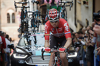 Pim Ligthart (NLD/Lotto-Soudal) on the ascent of the very steep (20%) cobbled Via Principi d'Acaja<br /> <br /> stage 18: Muggio - Pinerolo (240km)<br /> 99th Giro d'Italia 2016