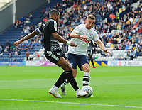 Reading's Liam Moore is tackled by Preston North End's Louis Moult<br /> <br /> Photographer Chris Vaughan/CameraSport<br /> <br /> The EFL Sky Bet Championship - Preston North End v Reading - Saturday 15th September 2018 - Deepdale - Preston<br /> <br /> World Copyright &copy; 2018 CameraSport. All rights reserved. 43 Linden Ave. Countesthorpe. Leicester. England. LE8 5PG - Tel: +44 (0) 116 277 4147 - admin@camerasport.com - www.camerasport.com
