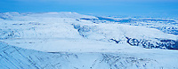 Winter view from summit of Pen Y Fan towards Black Mountains in west, Brecon Beacons national park, Wales