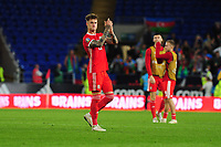 Joe Rodon of Wales applauds the fans at the final whistle during the UEFA Euro 2020 Qualifier match between Wales and Azerbaijan at the Cardiff City Stadium in Cardiff, Wales, UK. Friday 06, September 2019