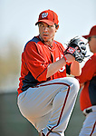 20 February 2011: Washington Nationals' pitcher Sean Burnett winds up for a pitch during Spring Training at the Carl Barger Baseball Complex in Viera, Florida. Mandatory Credit: Ed Wolfstein Photo
