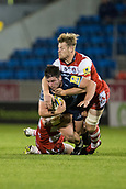 29th September 2017, AJ Bell Stadium, Salford, England; Aviva Premiership Rugby, Sale Sharks versus Gloucester; Sale Sharks' Marc Jones is tackled