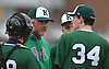 James Bailin, Bellmore JFK varsity baseball head coach, talks to pitcher Terry Beeker #34 during a mound visit in a non-league game against Freeport at Cleveland Avenue Field in Freeport on Friday, March 24, 2017. Freeport won by a score of 9-6.