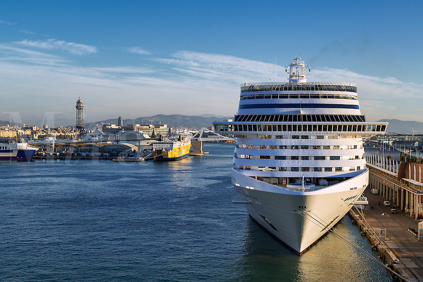 Cruise ship docked in harbor, Barcelona, Spain
