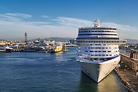 Cruise ship docked in harbor, Barcelona, Spain