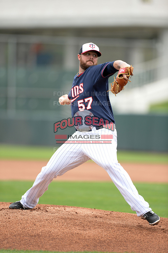 Minnesota Twins pitcher Ryan Pressly (57) throws live batting practice during practice on February 25, 2014 at Hammond Stadium in Fort Myers, Florida.  (Mike Janes Photography)