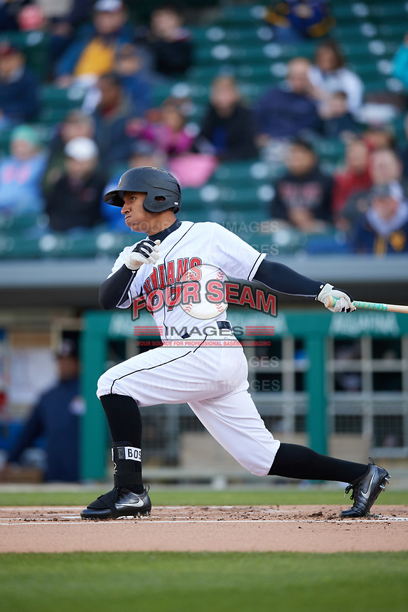Indianapolis Indians left fielder Chris Bostick (7) at bat during a game against the Toledo Mud Hens on May 2, 2017 at Victory Field in Indianapolis, Indiana.  Indianapolis defeated Toledo 9-2.  (Mike Janes/Four Seam Images)