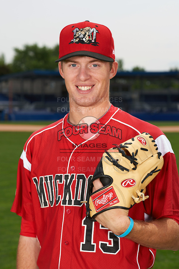 Batavia Muckdogs pitcher Travis Neubeck (13) poses for a photo before a game against the Auburn Doubledays on July 8, 2015 at Dwyer Stadium in Batavia, New York.  Batavia defeated Auburn 4-1.  (Mike Janes/Four Seam Images)