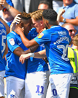 Jamal Lowe of Portsmouth left is congratulated by Ronan Curtis of Portsmouth after scoring the first goalt during Portsmouth vs Luton Town, Sky Bet EFL League 1 Football at Fratton Park on 4th August 2018