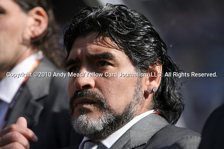 17 JUN 2010:  Argentina head coach Diego Maradona (ARG).  The Argentina National Team defeated the South Korea National Team 4-1 at Soccer City Stadium in Johannesburg, South Africa in a 2010 FIFA World Cup Group E match.