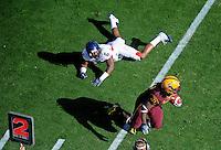 Nov. 28, 2009; Tempe, AZ, USA; Arizona State Sun Devils running back (31) Dimitri Nance runs past Arizona Wildcats cornerback (6) Devin Ross at Sun Devil Stadium. Arizona defeated Arizona State 20-17. Mandatory Credit: Mark J. Rebilas-