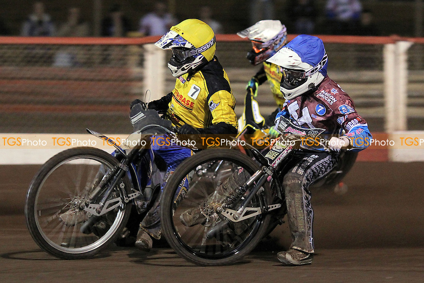 Heat 4: Rob Mear (blue), Scott Nicholls (white) and Michal Szczepaniak - Lakeside Hammers vs Coventry Bees - Sky Sports Elite League Speedway at Arena Essex Raceway, Purfleet - 10/09/12 - MANDATORY CREDIT: Gavin Ellis/TGSPHOTO - Self billing applies where appropriate - 0845 094 6026 - contact@tgsphoto.co.uk - NO UNPAID USE.