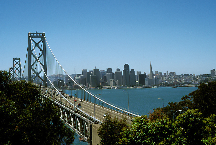 California, CA, San Francisco, Bay Bridge and skyline, between San Francisco and Oakland..Photo caggbr201.    .Photo Copyright: Lee Foster, www.fostertravel.com, 510-549-2202, lee@fostertravel.com
