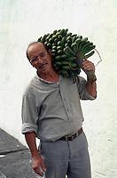Spanien, Kanarische Inseln, Gomera, Hermigua, Bananenernte