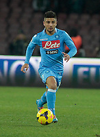 Lorenzo Insigne in action during the Italian Serie A soccer match between SSC Napoli and Chievo  at San Paolo stadium in Naples, January 25, 2014
