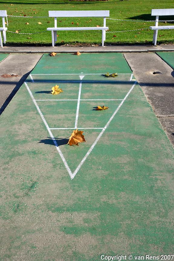Leaves score on  shuffleboard court in the fall.