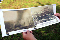 MEGAN DAVIS/MCDONALD COUNTY PRESS Organizers also provided photos from the time-period to help visualize the landscape of the stories and events, such as the burning of Struther's Mill (fromerly Honey Creek Mill) in 1910.