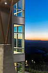 Contemporary house set against a Pacific Northwest sunset