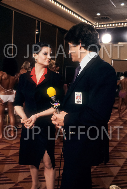 Los Angeles, April, 1981. Lisa Lyon, the first female bodybuilder to appear in Playboy in October, 1980.