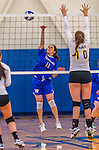 26 October 2014: Yeshiva University Maccabee Outside Hitter Gabi Katz, a Senior from New Rochelle, NY, in action against the College of Mount Saint Vincent Dolphins, in Riverdale, NY. The Dolphins defeated the Maccabees 3-0 in the NCAA Division III Women's Volleyball Skyline matchup. Mandatory Credit: Ed Wolfstein Photo *** RAW (NEF) Image File Available ***