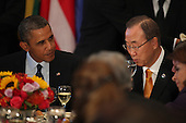 United States President Barack Obama and United Nations Secretary General Ban Ki-Moon attend the Delegates Luncheon at the 68th United Nations General Assembly in New York, New York on Tuesday, September 24, 2013.<br /> Credit: Allan Tannenbaum / Pool via CNP