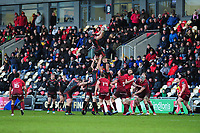 Harrison Keddie of Dragons claims the lineout during the Guinness Pro14 Round 14 match between the Dragons and Munster Rugby at Rodney Parade in Newport, Wales, UK.  Saturday 26 January  2019