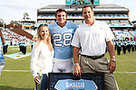 CHAPEL HILL, NC - NOVEMBER 18: UNC's Dante DiMaggio was honored as part of Senior Day pregame activities. The University of North Carolina Tar Heels hosted the Western Carolina University Catamounts on November 18, 2017 at Kenan Memorial Stadium in Chapel Hill, NC in a Division I College Football game. UNC won the game 65-10.