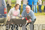 WINNER: Shanavullen Rio who qualified on saturday for the final on Sunday at the Kilflynn Coursing with his trainers and owner, Marian Costello and Dan Cooper O'Sullivan (Currow)..