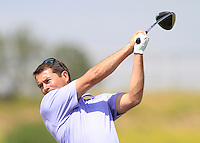 Gareth Maybin (NIR) on the 1st tee during Round 1 of the Challenge de Madrid, a Challenge  Tour event in El Encin Golf Club, Madrid on Wednesday 22nd April 2015.<br /> Picture:  Thos Caffrey / www.golffile.ie