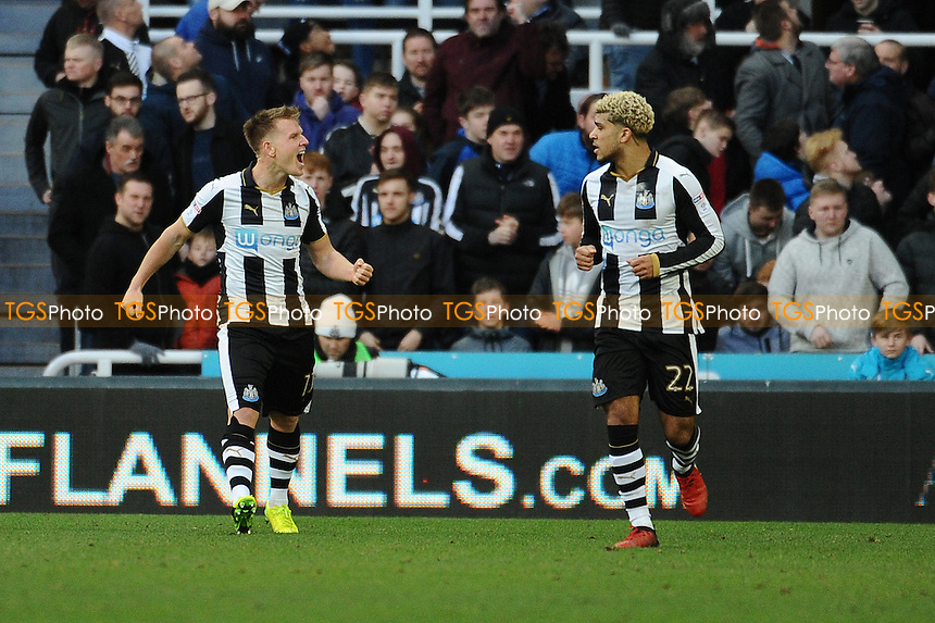 Matt Ritchie of Newcastle United celebrates scoring the opening goal of the game during Newcastle United vs Derby County, Sky Bet EFL Championship Football at St. James' Park on 4th February 2017