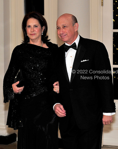 Lloyd Blankfein and his wife, Laura, arrive for the State Dinner in honor of President Hu Jintao of China at the White House In Washington, D.C. on Wednesday, January 19, 2011. .Credit: Ron Sachs / CNP.(RESTRICTION: NO New York or New Jersey Newspapers or newspapers within a 75 mile radius of New York City)