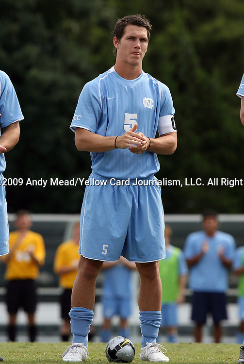 06 September 2009: UNC's Zach Loyd. The University of North Carolina Tar Heels defeated the Evansville University Purple Aces 4-0 at Fetzer Field in Chapel Hill, North Carolina in an NCAA Division I Men's college soccer game.