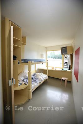 Genève, le 18.08.2010.Prison genevoise de Champ-Dollon. Cellule de prisonnier..© Jean-Patrick / Le Courrier