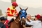ARCADIA, CA  DECEMBER  30: #1 Silent Bird, ridden by Kent Desormeaux, return to the connections after winning the Midnight Lute Stakes (Grade lll) on December 30, 2017, at Santa Anita Park in Arcadia, CA. (Photo by Casey Phillips/ Eclipse Sportswire/ Getty Images)