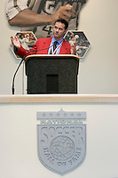 2004 National Soccer Hall of Fame inductee Eric Wynalda gives his acceptance speech during the induction ceremony on Monday October 11, 2004 at the National Soccer Hall of Fame and Museum, Oneonta, NY.